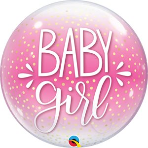 M.22'' BABY GIRL PINK& CONFETTI DOTS BUBBLE