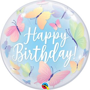 22'' M. BIRTHDAY SOFT BUTTERFLIES BUBBLES