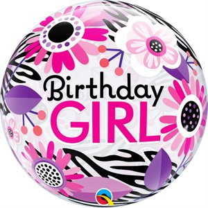 "22""M. BIRTHDAY GIRL FLORAL ZEBRA BUBBLES"