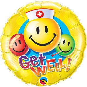 """18""""M.GET WELL SMILEY FACES"""